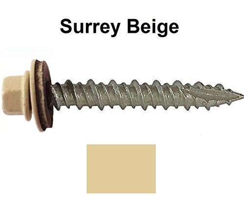Cheap Metal ROOFING SCREWS: (250) Screws x 1 SURREY BEIGE Hex Washer Head Sheet Metal Roof Screw. Self starting/self tapping metal to wood sheet metal roofing siding screws ~ EPDM washer. Metal Roof screw with colored head ~For corrugated roofing on sale 2017