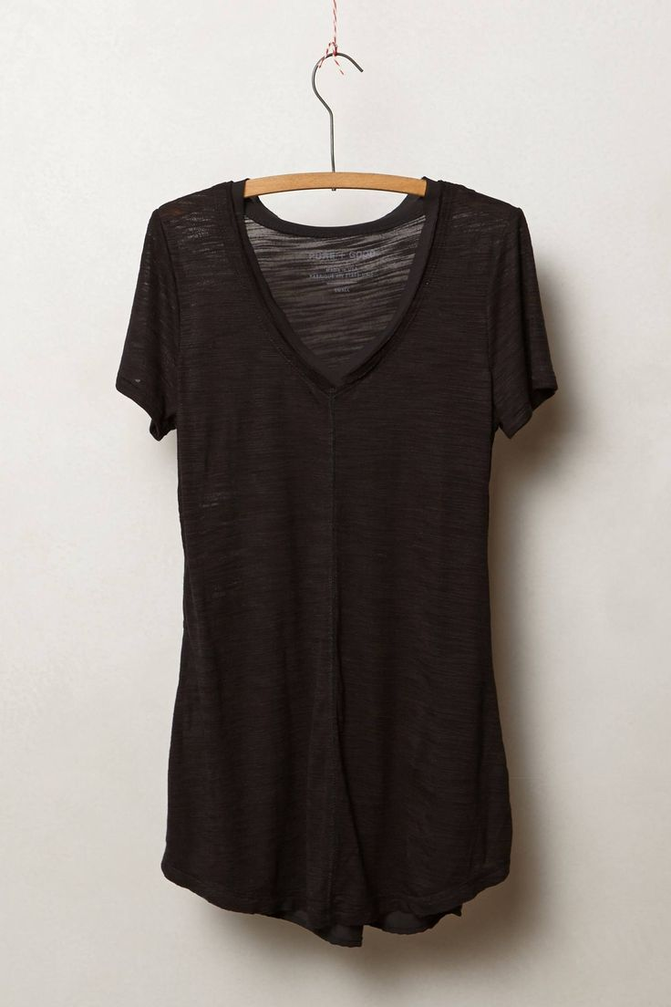 Black t shirt v shape - Slubby Seamed Tee Anthropologie Com Black T Shirtblack