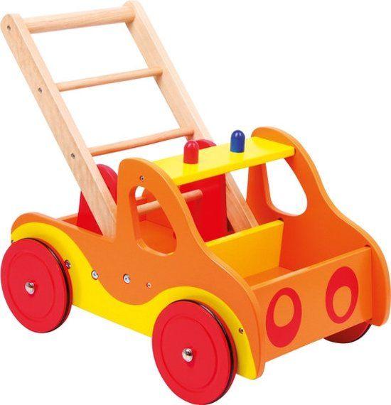 Loopwagen hout met activiteiten (baby walker) – Brandweer – Houten speelgoed vanaf 1 jaar