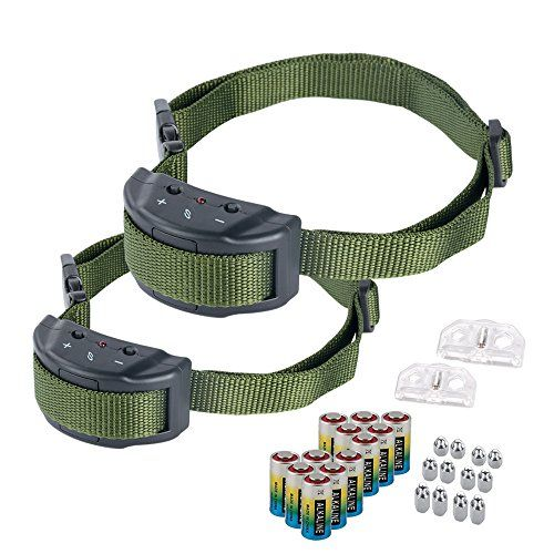 Bark Collar - Adjustable Sensitivity Electric Training Dog Collars Puppy Anti Barking Control Devices For 15-120 Pounds Dogs - Bundled With 6 Alkaline Batteries(Green Green,Pack of 2)