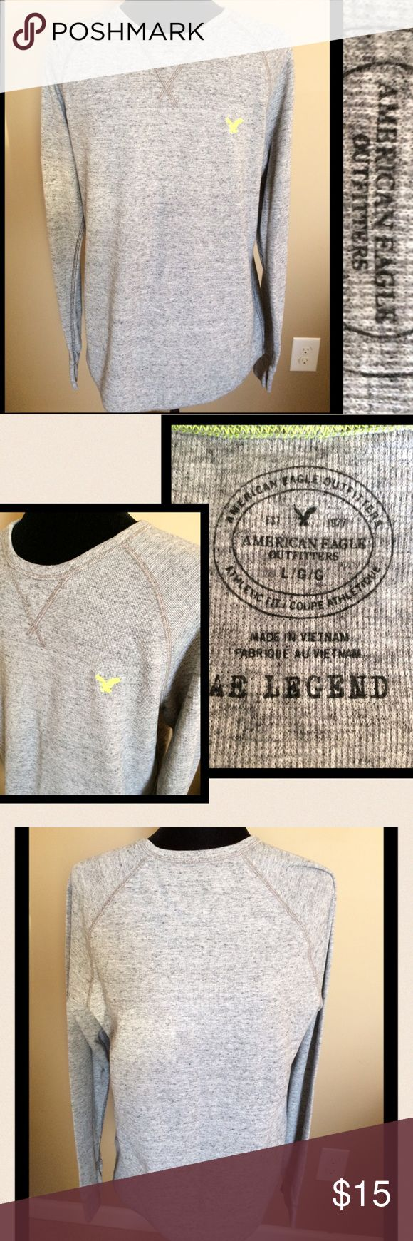 Men's American Eagle Gray Thermal, L Men's American Eagle Gray Thermal, L, like new, has neon green eagle accent, athletic fit  WILL BUNDLE FOR ADDITIONAL DISCOUNT ON SHIPPING AND CLOTHING American Eagle Outfitters Shirts Tees - Long Sleeve