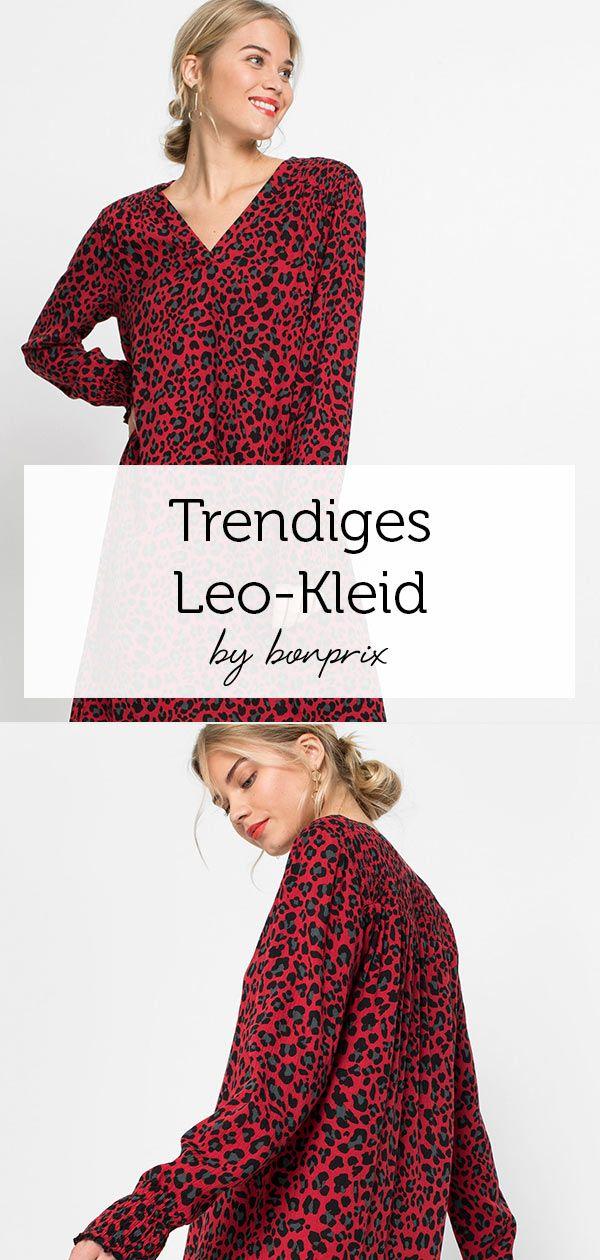 Ein Stylisher Leo Print Setzt Dieses Kleid Mit Bundchen In Smok Optik An Den Armelenden In Szene Kleine Raffungen Schmucken Die Schult Kleider Neues Kleid Leo