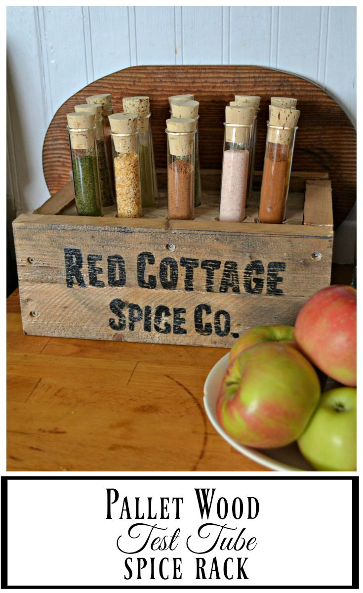 This DIY pallet spice rack uses test tubes to hold spices
