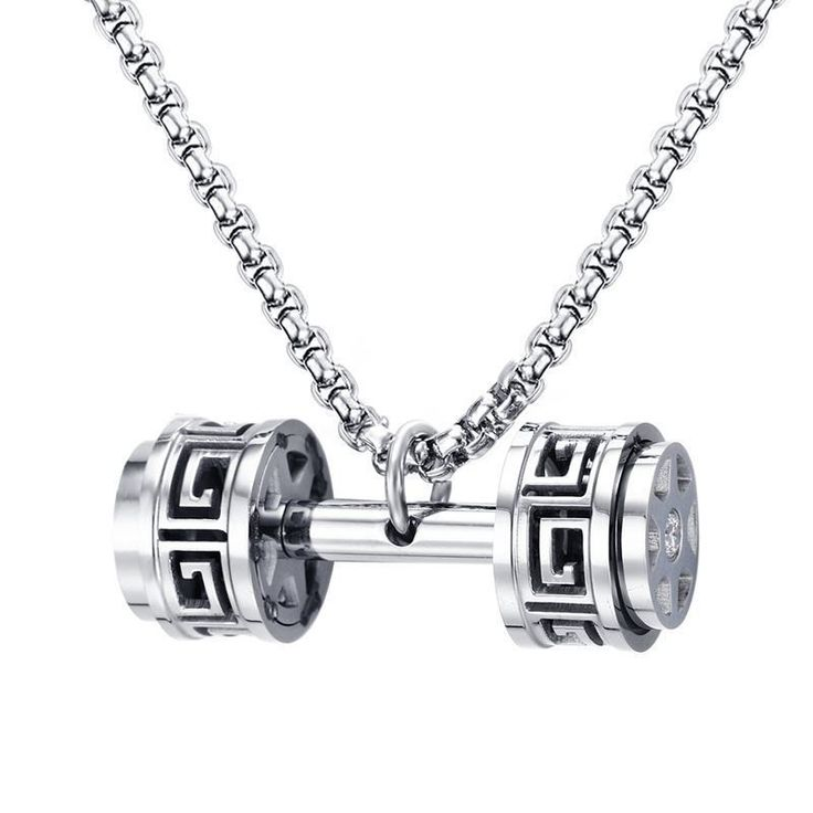 Little known ways to Original Price US $14.68 Sale Price US $9.54 Unique Design Hollow Greek Key Barbell Dumbbell Pendant Necklace for Men Women Silver Tone Stainless Steel Sport Male Jewelry safely #unique_necklaces