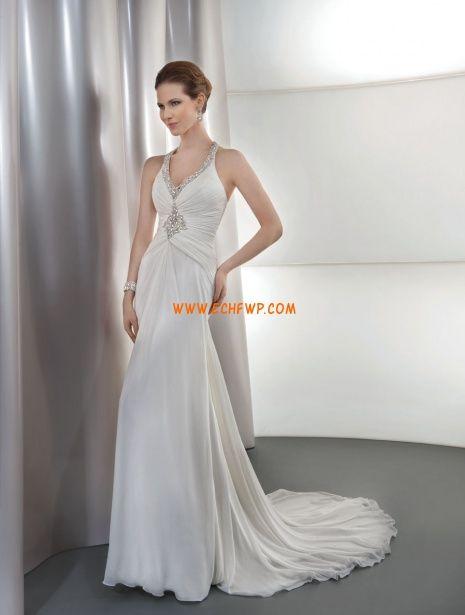 Hala S křišťálovou aplikací Přírodní Svatební šaty 2014