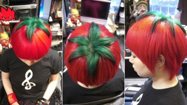 fabulous 'Ripe Tomato' hairdo by Hiro, a stylist at the 'Trick Store' salon in Osaka