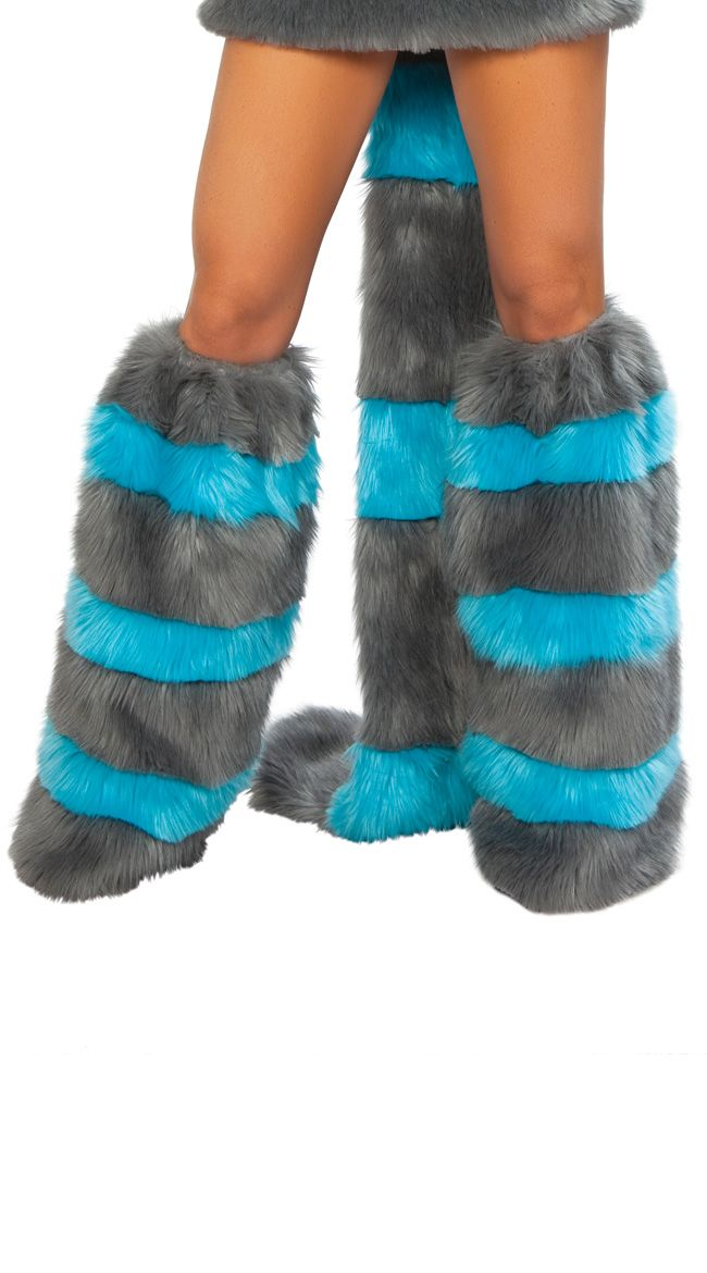 Cheshire Cat Blue And Grey Leg Warmers