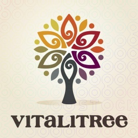 Logo. Vitalitree and its deep rich color palette present a six petal flower tree with beautiful symmetry.