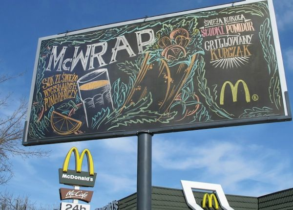 McDonald's Puts Up Giant Chalkboard As Billboard, Decorated By Graffiti Artist - DesignTAXI.com