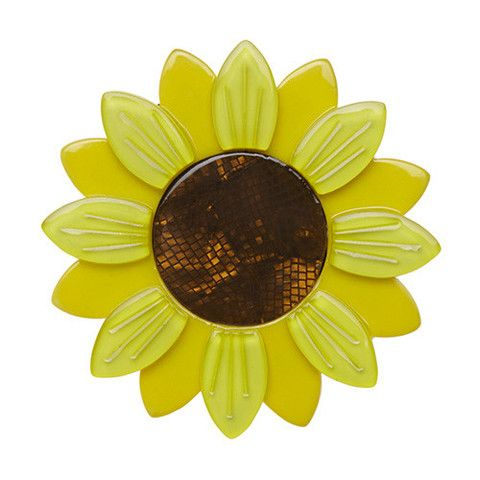 "Erstwilder Limited Edition Sumptuous Sunflower Brooch. ""Growing mightily tall and always facing East. Well, trying to always face East. The rays of the rising sun add to our beauty."""