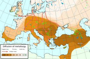 Bernstein-Routen in der Bronzezeit Kupfer (Copper), Zinn (tin) und Gold-Lagerstätten