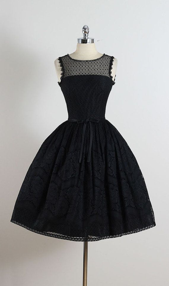 ➳ vintage 1950s party dress  * black eyelet lace * acetate lining * rose patterned skirt * bow accent * metal back zipper * by Jonathon Logan