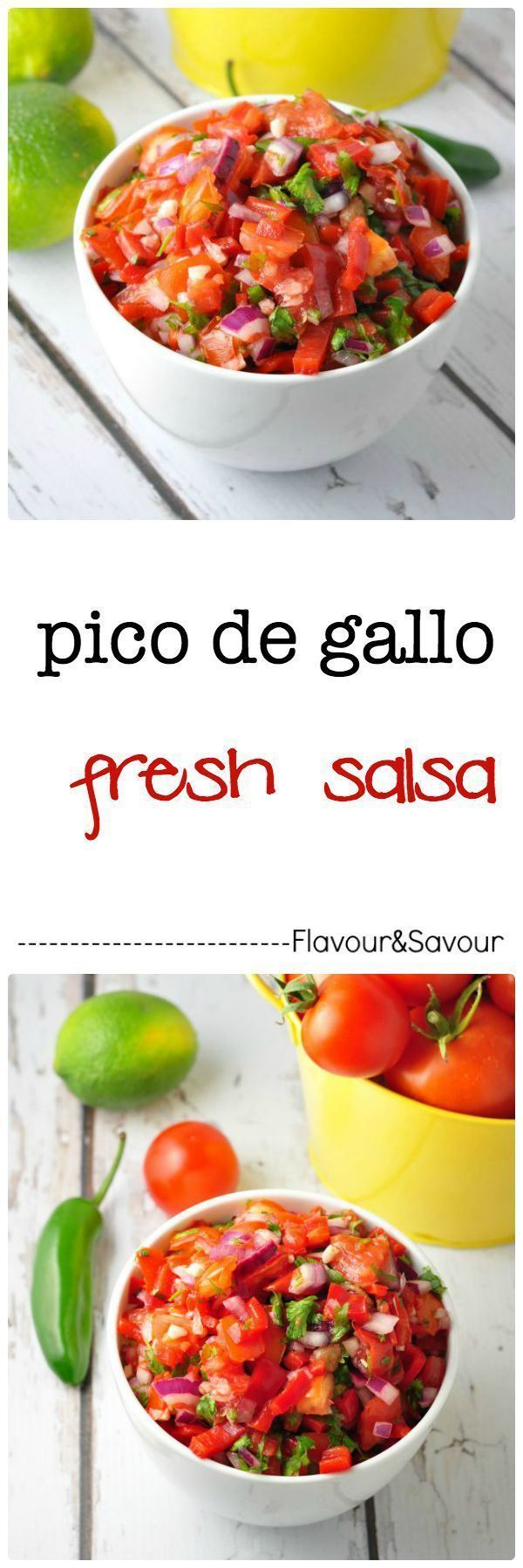 Pico de Gallo. Fresh Salsa made with tomatoes, peppers, onions, garlic and jalapenos. Never buy it again, as it's so easy to make at home. #fresh #salsa #easy
