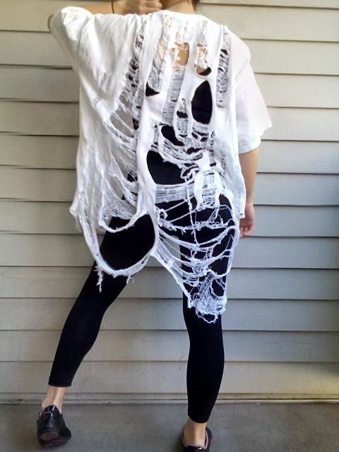 Shredded Shirt Women's Tunic White Fits Most Hand Shredded