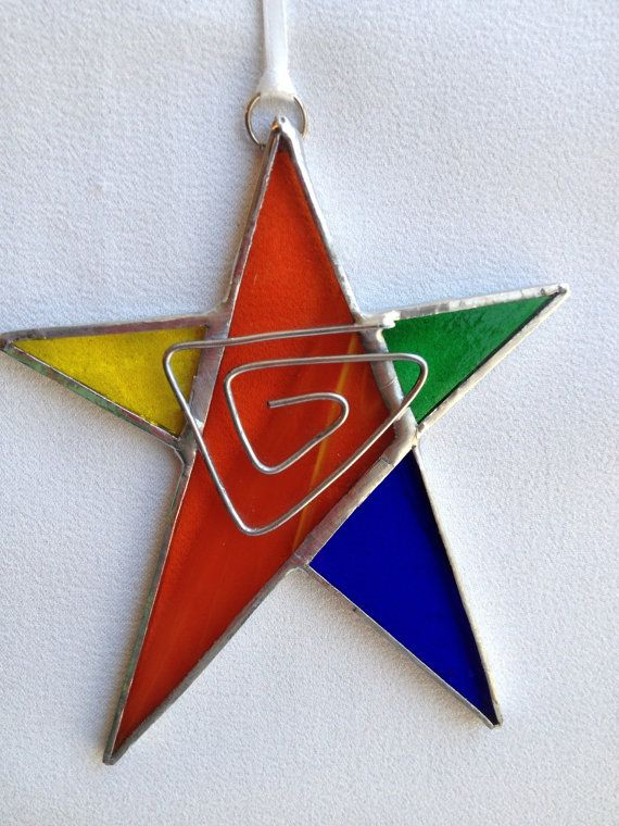Delightful Christmas Stained Glass Ornaments Part - 2: Stained Glass Ornament Star With Wire By MamaAgees On Etsy, $7.50