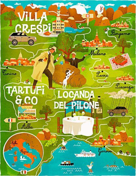 Vesa Sammalisto, Finnish illustrator: Vesa Sammalisto, Fun Illustrations, Travel Illustrations, Poster Frame-Black, Illustrations Maps, Graphicdesign, Graphics Design, Villas Crespi, Italy Maps