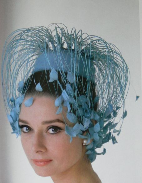 """I adore this delicate, cascading cornflower blue hat worn by #AudreyHepburn.    If you are a hat lover, you must check out the #Strawberige site for """"eccentricities: headdresses""""."""