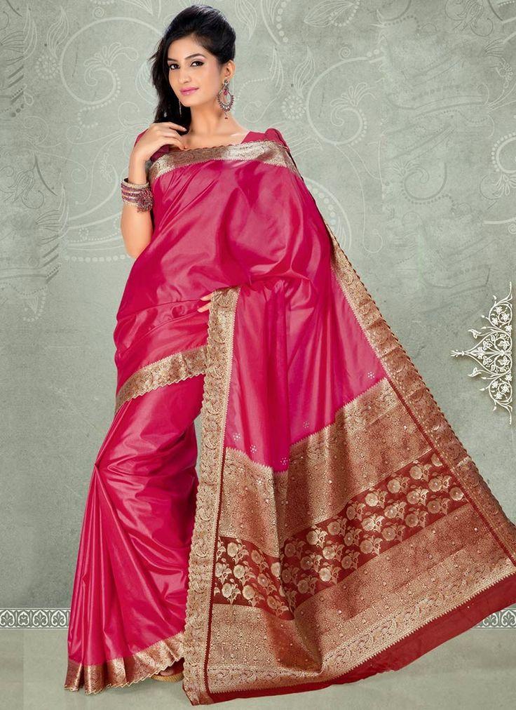 Pink color wedding saree dresses