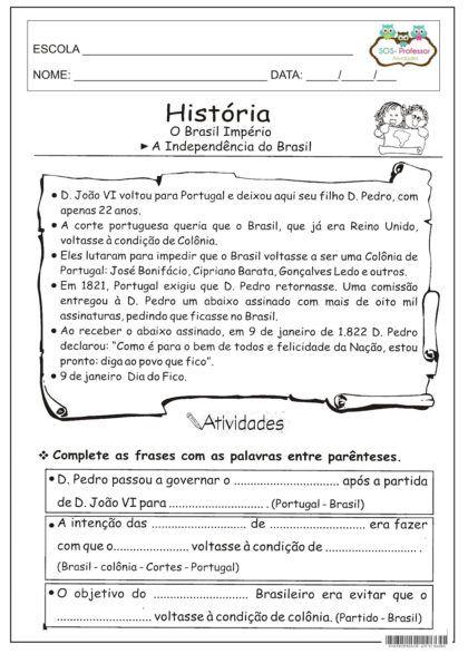 atividades sobre a independencia do brasil interpretação de texto