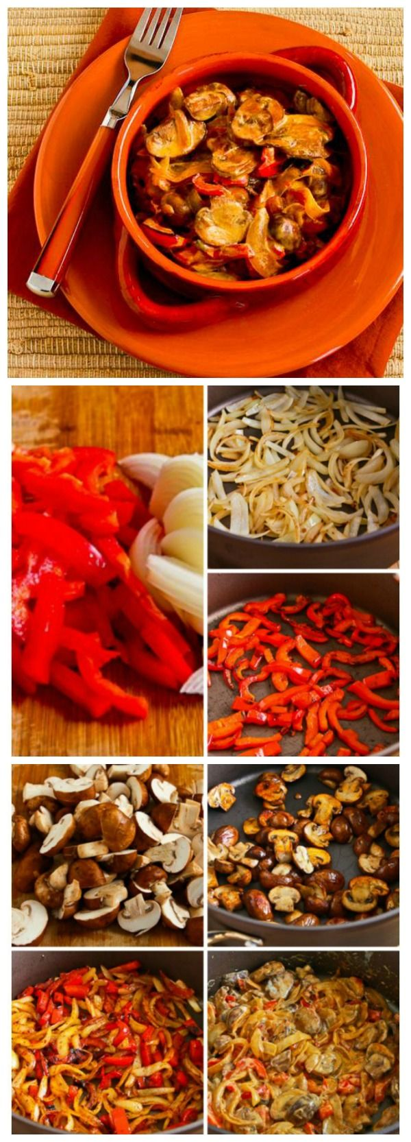 This Vegetarian Mushroom Stew with Red Bell Pepper, Onion, and Paprika is delicious for a #MeatlessMonday main dish or delicious side dish.  [found on KalynsKitchen.com]