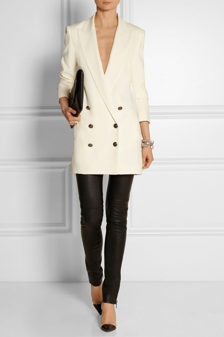 Pierre Balmain double breasted cream blazer, Gianvito Rossi shoes, Gucci pants, Givenchy bag