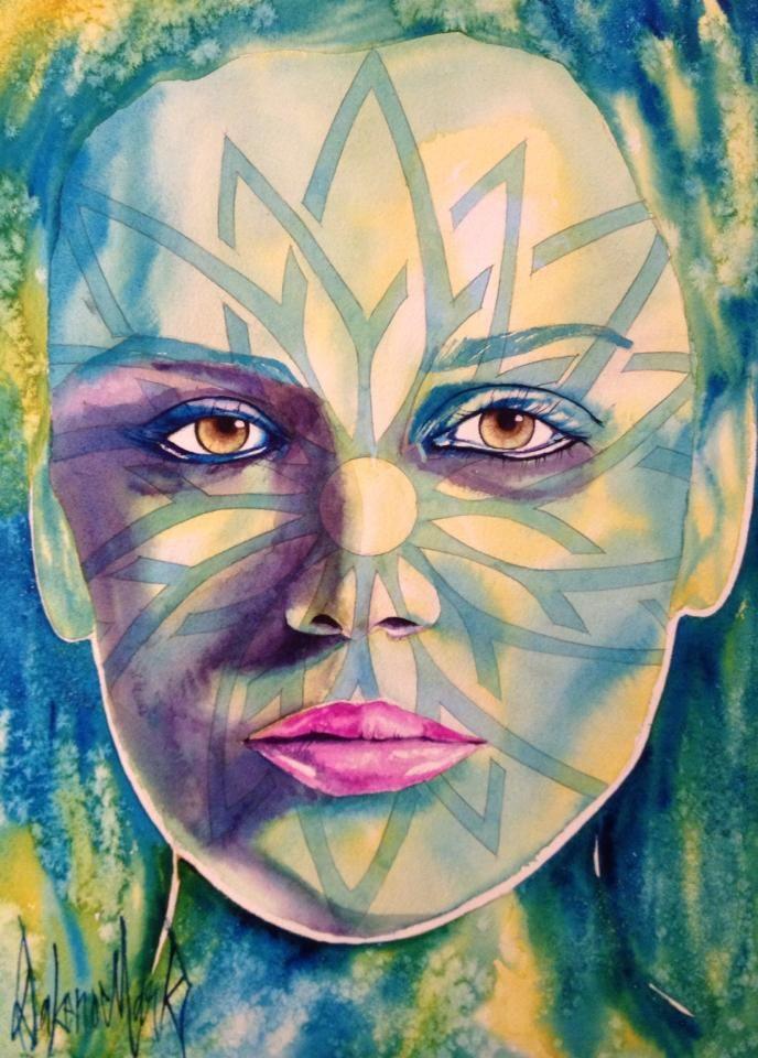 Abbie, watercolor by Dakeno Mark