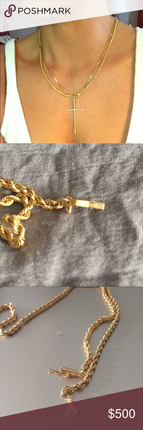 """Genuine 14K GOLD ROPE CHAIN 18"""" Genuine authentic. Great quality, great locks.  About 18 inches. Cross necklace and pendant not included. 14k Jewelry Necklaces"""