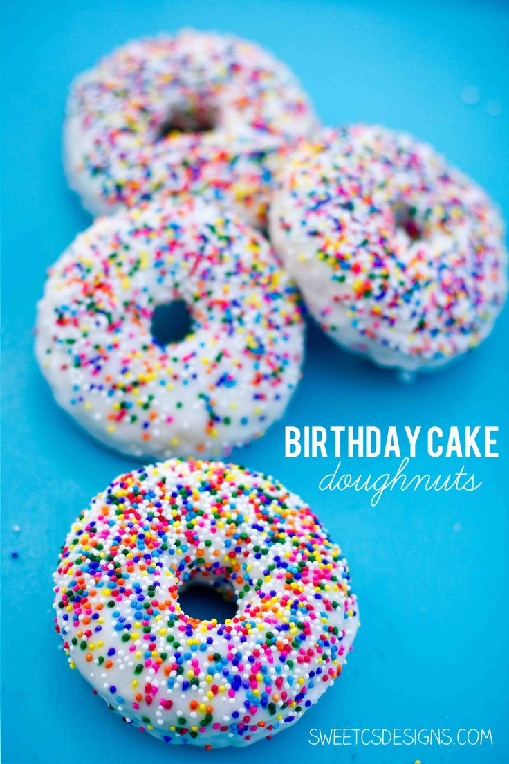 birthday cake doughnuts- these are so delicious and a fun twist on individual cakes! at sweetcsdesigns.com