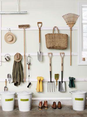 peg rails for garage organizationGarages Organic, Sheds Organic, Tools Storage, Organic Garages, Tools Organic, Gardens Tools, Storage Ideas, Gardens Sheds, Garages Storage