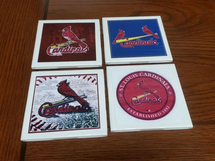 Cardinals Baseball Coasters set of 4,Pictures Tiles by TSHeartsDesire374 on Etsy