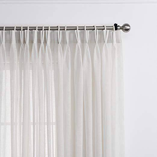 Lantime Sheer Curtains 108 Inches Long Faux Linen Double Pleated