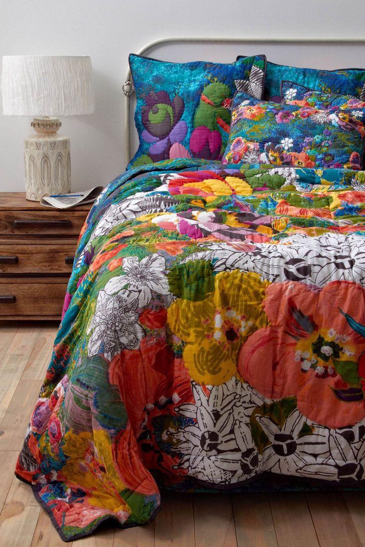 Lush Landscape Bedding: Beds Covers, Lush Landscape, Beds Spreads, Dreams Beds, Landscape Quilts, Colors Blue, Landscape Beds, Flowers Quilts, Bright Colors