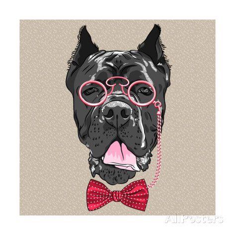 Vector Funny Cartoon Hipster Dog Cane Corso Art Print