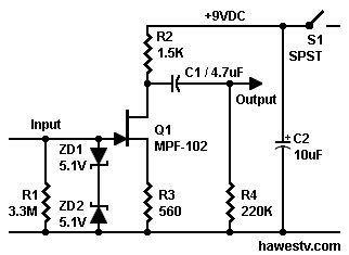 Schematic Highimpedance preamplifier with MPF102 JFET