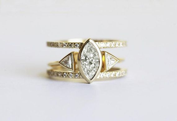 Diamond Engagement Ring Set Trillion Diamond and by capucinne