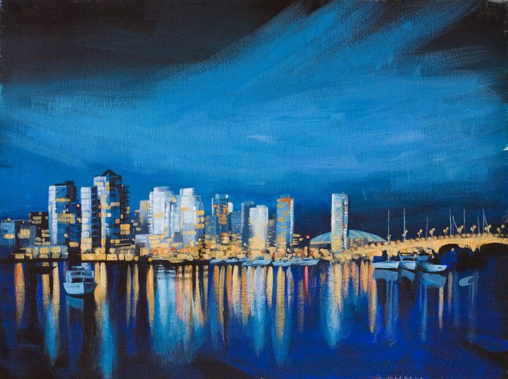 A cityscape on the water. Acrylic on canvas.