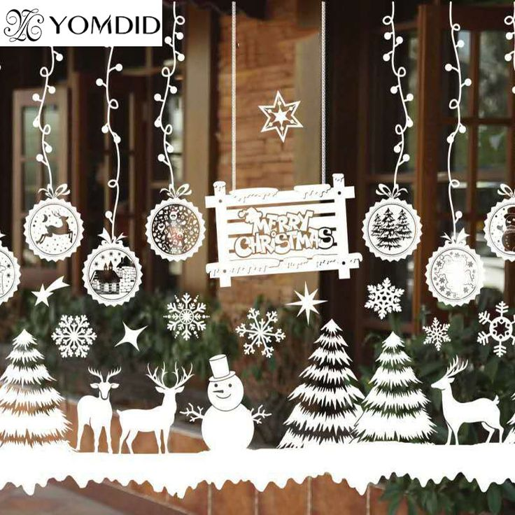 Merry Christmas Window Decorations Santa Claus Deer Snowman Snowflakes Bells Christmas Decals Ner Year Enfeites de natal