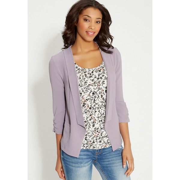 maurices Blazer In Textured Fabric With Pockets ($39) ❤ liked on Polyvore featuring outerwear, jackets, blazers, lavender dust, three quarter sleeve blazer, pocket jacket, purple blazer jacket, lightweight blazer and light weight jacket