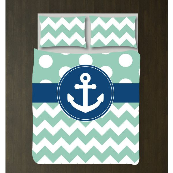 Custom Nautical Duvet Bedding Set-Grayed Jade-White Polka Dots &... ($130) ❤ liked on Polyvore featuring home, bed & bath, bedding, comforters, duvet covers, home & living, silver, twin xl bed set, king comforter and twin comforter