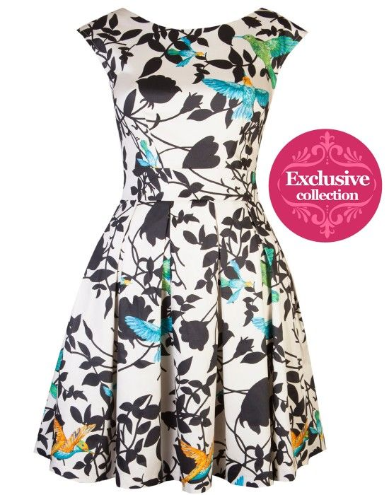 Tropical Bird print dress made exclusively for Aspire Style by London brand, Closet.