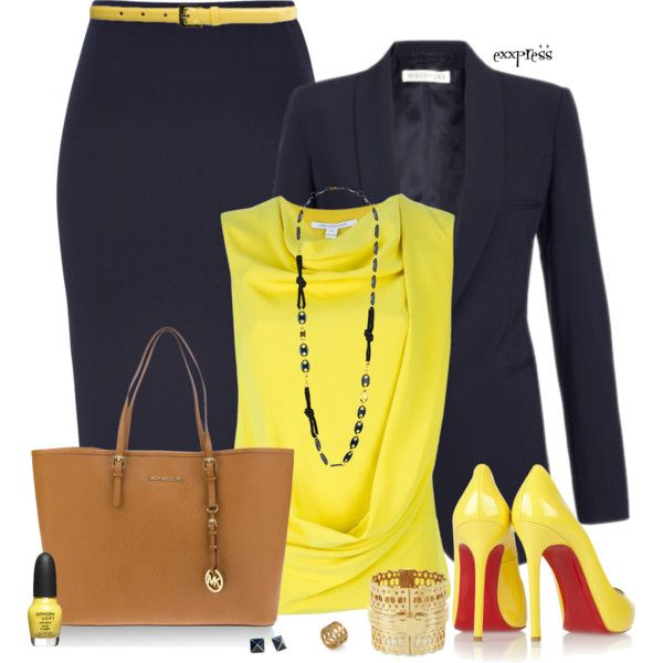 """This is one of my favorite recommendations - """"Yellow and Navy"""" by exxpress on Polyvore - Such a great combo of conservative and edgy.  The navy skirt and jacket are so classic - pair them with the bright yellow top and shoes brings it to a whole new level of awesomeness.  Any lady will feel confident and hot in this one."""