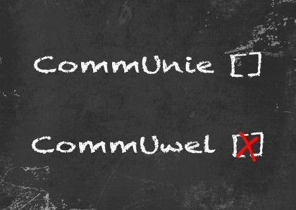 #Communiefeest.Leuke kaart met een grappige twist!Voor haar en hem;-).Volg;Communie wel niet krijtbord b - Communiekaarten - Kaartje2go