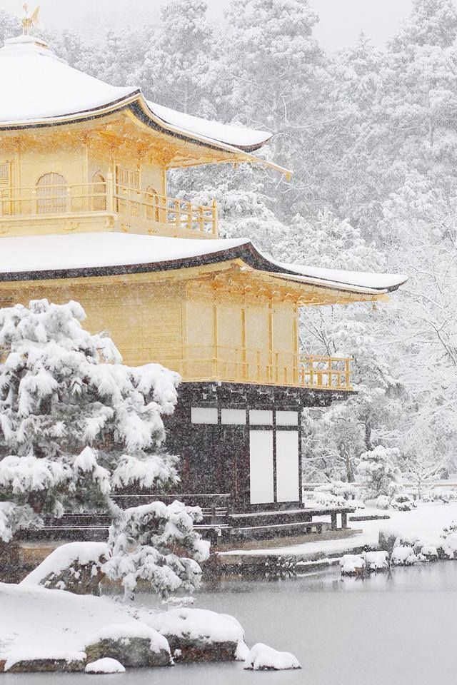Kinakaku-ji temple in snow, Kyoto, Japan 金閣寺 /\|B