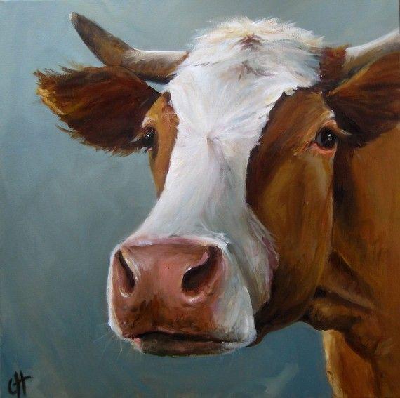 cow print - gorge blue & horns