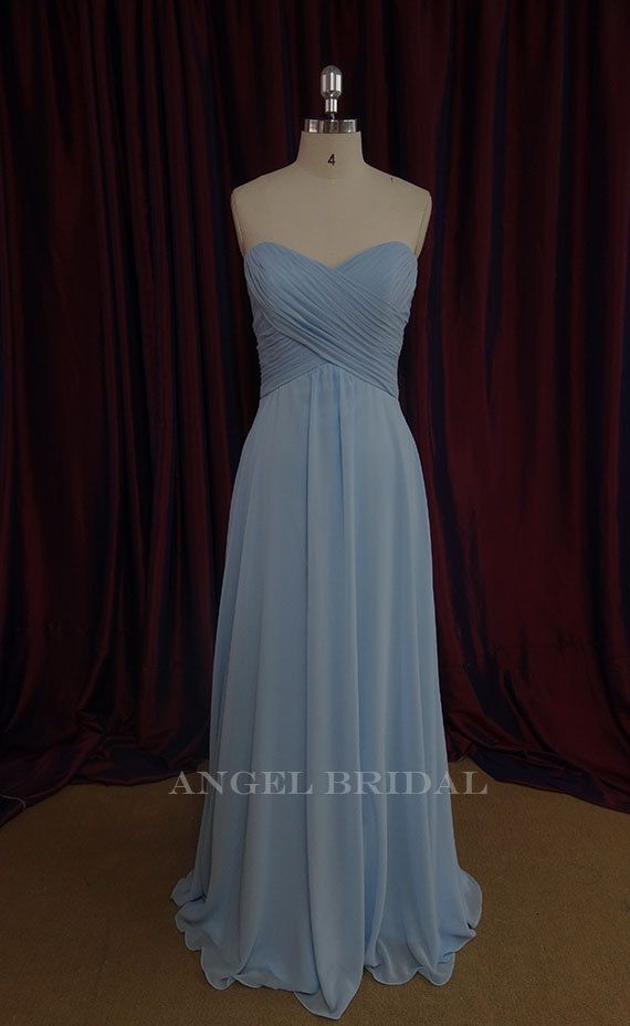 Blue Wedding Dress Simple : Simple light sky blue chiffon long bridesmaid dress bridal party