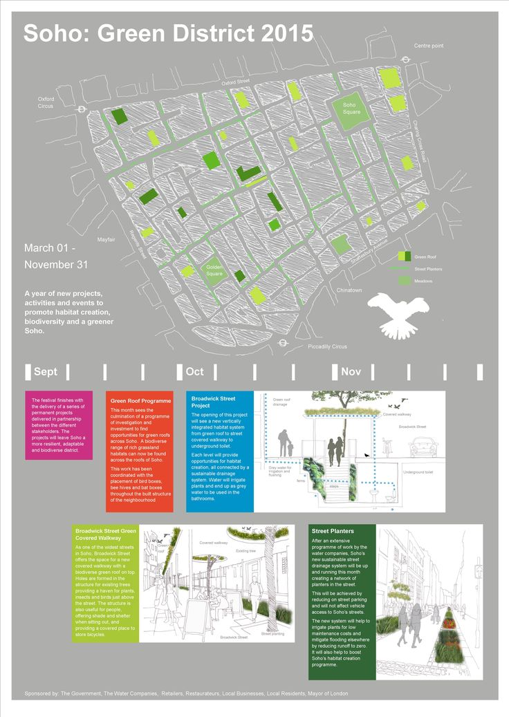 Considering how rainwater currently flows through Soho, there is an attempt to alter the built environment to absorb, redirect, alter and collect this water for plant irrigation, reduce pressure on the sewer system and reduce pollution entering the Thames. The management of rainwater can provide a lifeline for plants and reduce the maintenance burden of creating habitat.  The Integrated Habitats Design Competition      www.IHDC.org.uk