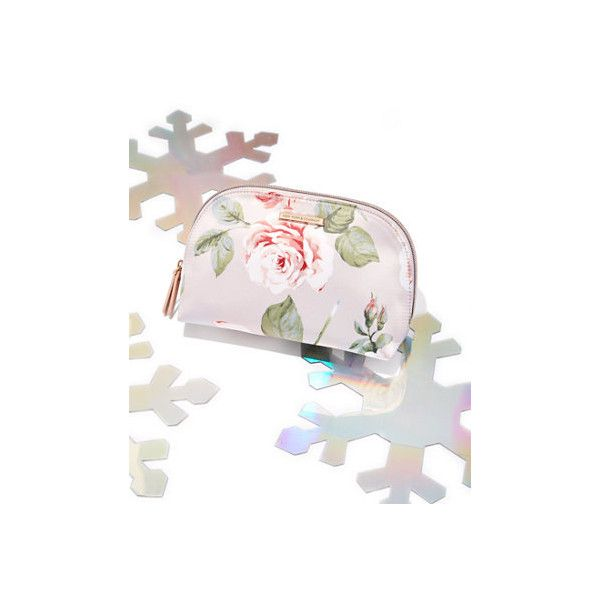 Floral Cosmetic Case ($11) ❤ liked on Polyvore featuring beauty products, beauty accessories, bags & cases, pink, wash bag, makeup bag case, make up bag, make up purse and toiletry kits
