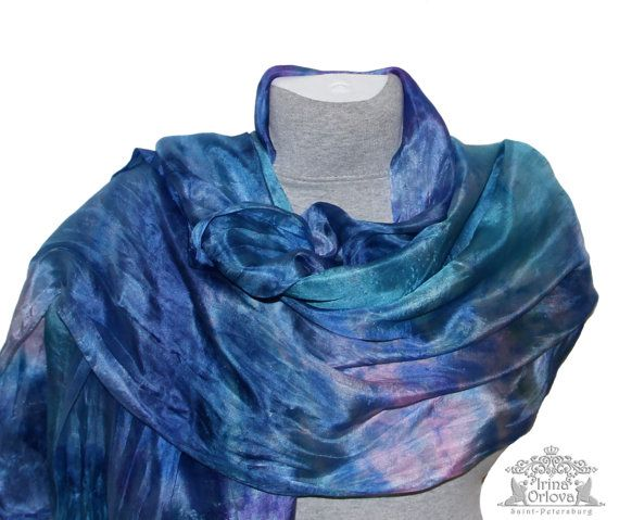 Silk Summer Shawl  Blue Silk Scarf Sea Scarf  Silk Scarves Hand Painted Hand Dyed Mother birthday gift  Gift Women Scarf Christmas July Sale