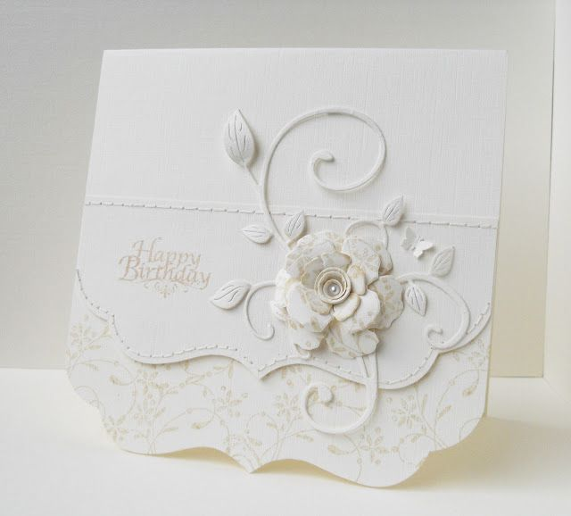 white on white, ivory white, lovely die cut flourish and dimensional flower...