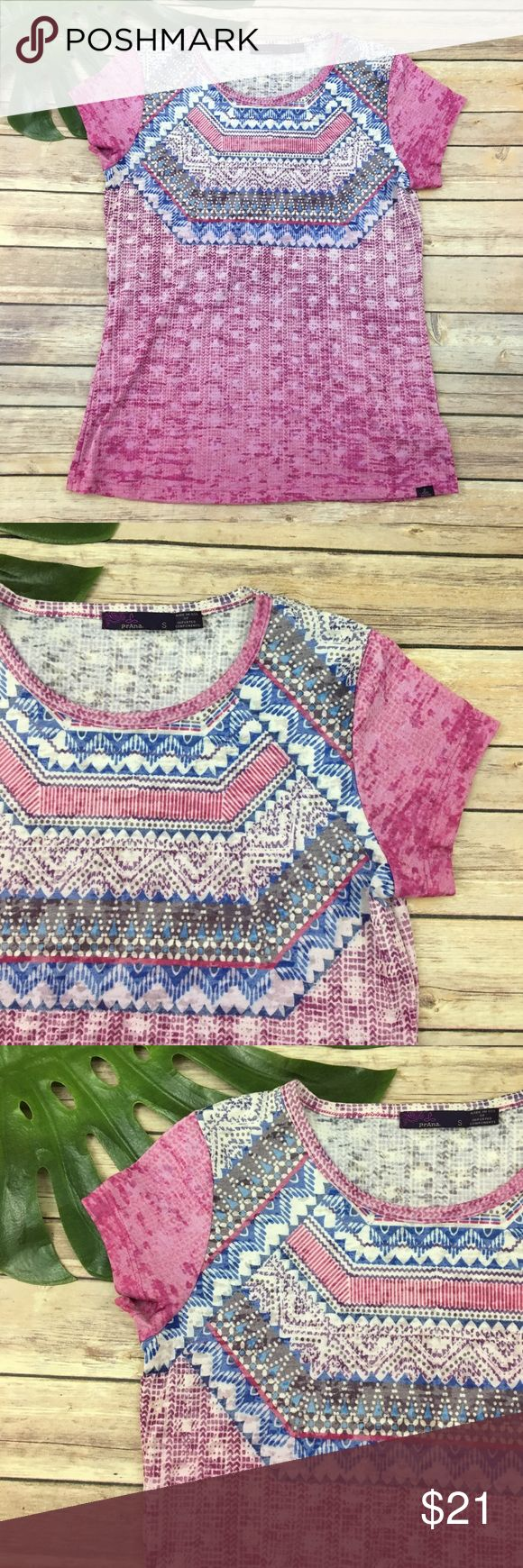 Prana pink geometric print burnout tee Prana pink & purple geometric print burnout top, size S. It is free from any rips or stains. It measures about 37 inches around the bust and is about 24 inches long. Prana Tops Tees - Short Sleeve